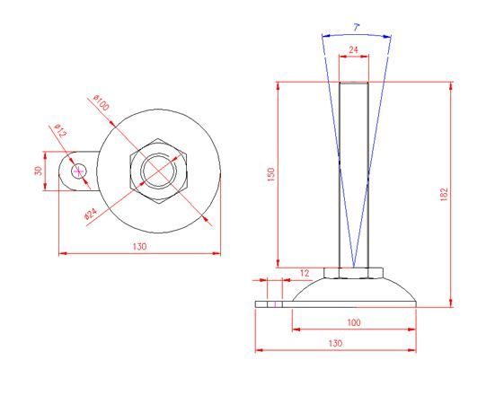 Adjustable Levelling Feet - Metal Base with Tab - Stainless Steel - 303 - JS3F91