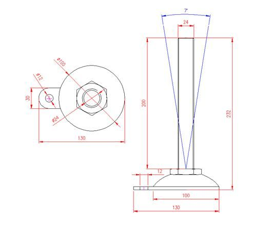 Adjustable Levelling Feet - Metal Base with Tab - Stainless Steel - 303 - JS3F92