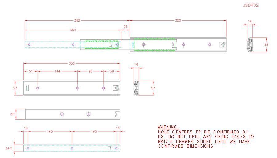 Full Extension Drawer Runner - Stainless Steel - 304 - JSDR02