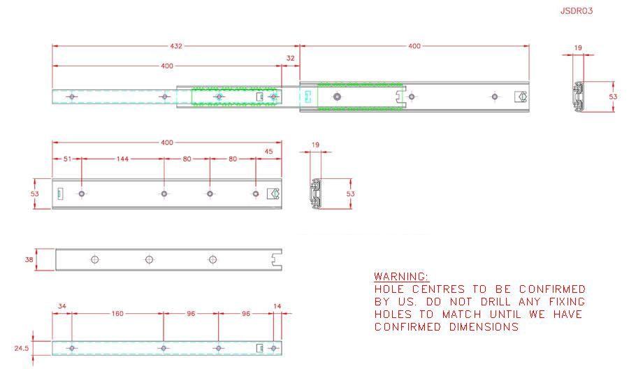 Full Extension Drawer Runner - Stainless Steel - 304 - JSDR03