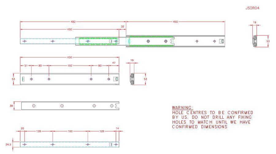 Full Extension Drawer Runner - Stainless Steel - 304 - JSDR04