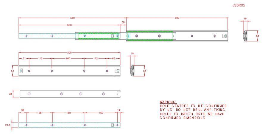 Full Extension Drawer Runner - Stainless Steel - 304 - JSDR05