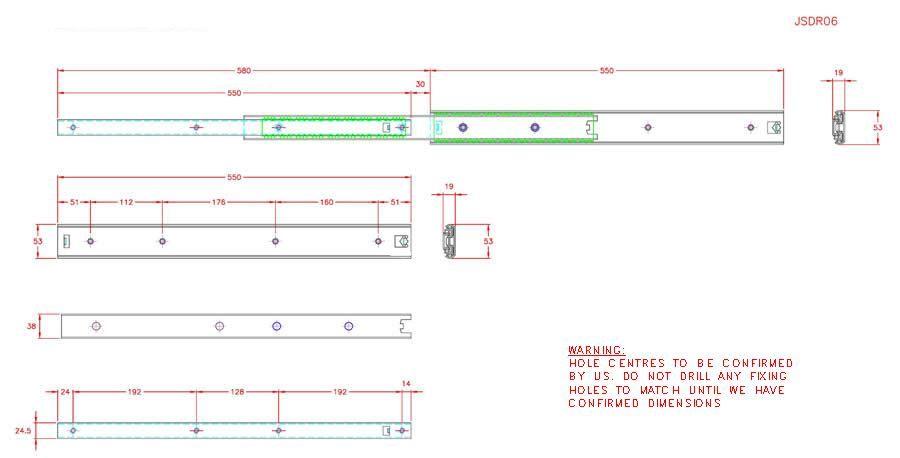 Full Extension Drawer Runner - Stainless Steel - 304 - JSDR06