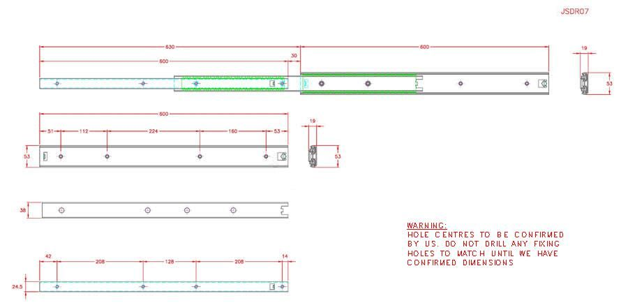 Full Extension Drawer Runner - Stainless Steel - 304 - JSDR07
