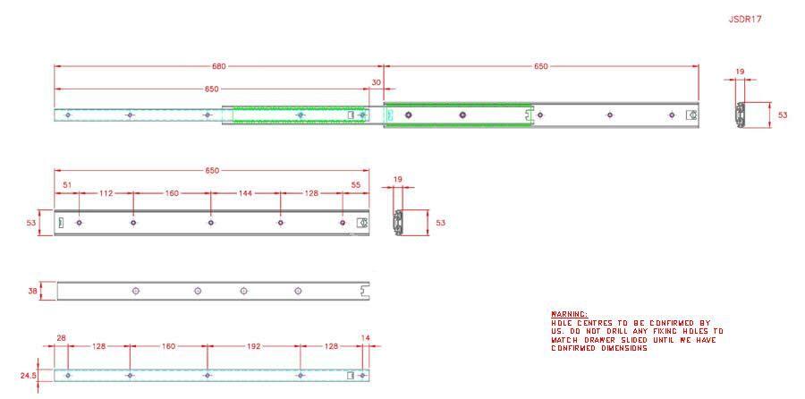 Full Extension Drawer Runner - Stainless Steel - 304 - JSDR17