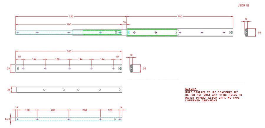 Full Extension Drawer Runner - Stainless Steel - 304 - JSDR18