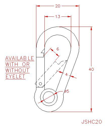 Carbine Hook - Stainless Steel - 316 - JSHC20