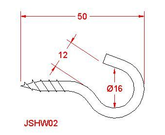 Screw Hook - Stainless Steel - 316 - JSHW02