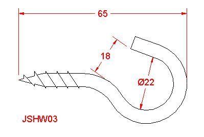 Screw Hook - Stainless Steel - 316 - JSHW03