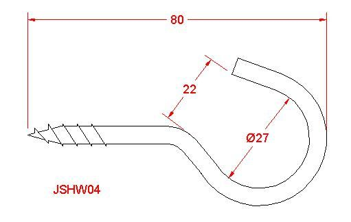 Screw Hook - Stainless Steel - 316 - JSHW04