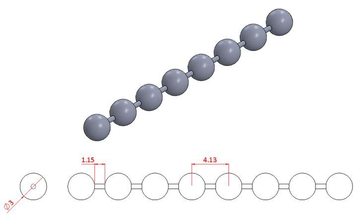 Bead Chain - Stainless Steel - Mirror - 304 - JSNB08