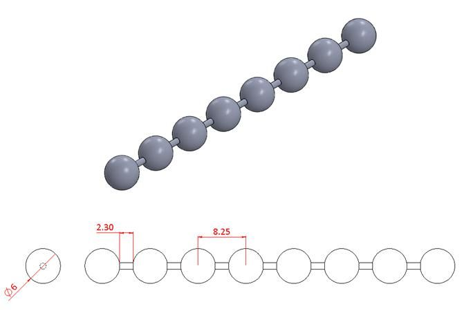 Bead Chain - Stainless Steel - Mirror - 304 - JSNB13