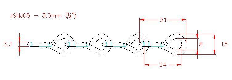 Single Jack Chain - Stainless Steel - 304 - JSNJ05
