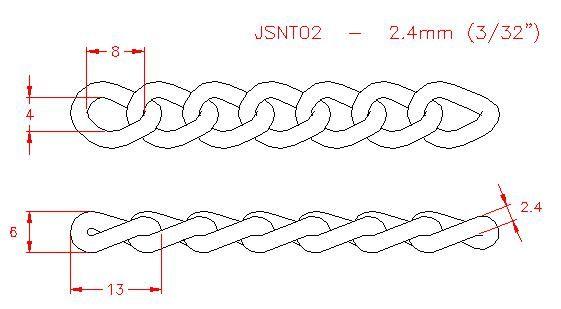 Twist Link Chain - Stainless Steel - 304 - JSNT02