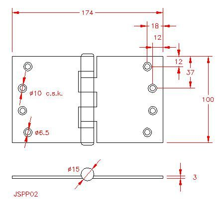 Projection Hinge - Stainless Steel - Satin - 316 - JSPP02