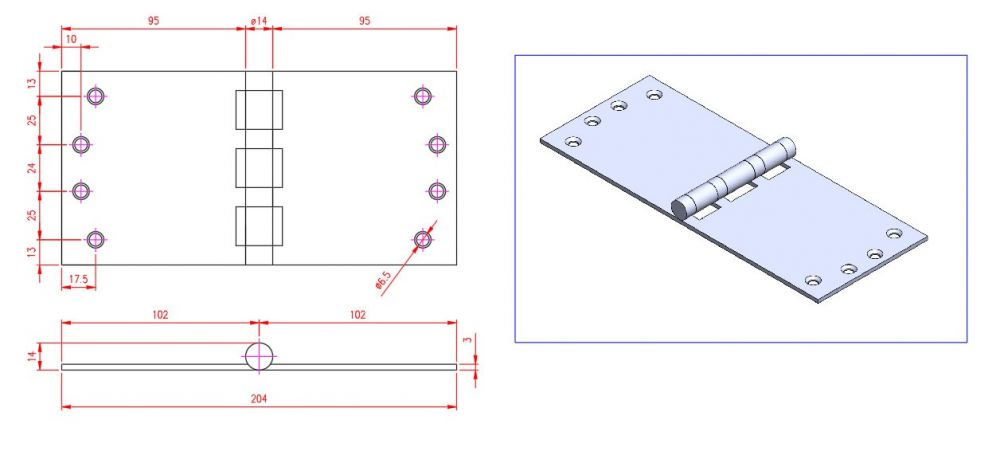 Projection Hinge - Stainless Steel - Satin - 316 - JSPP07