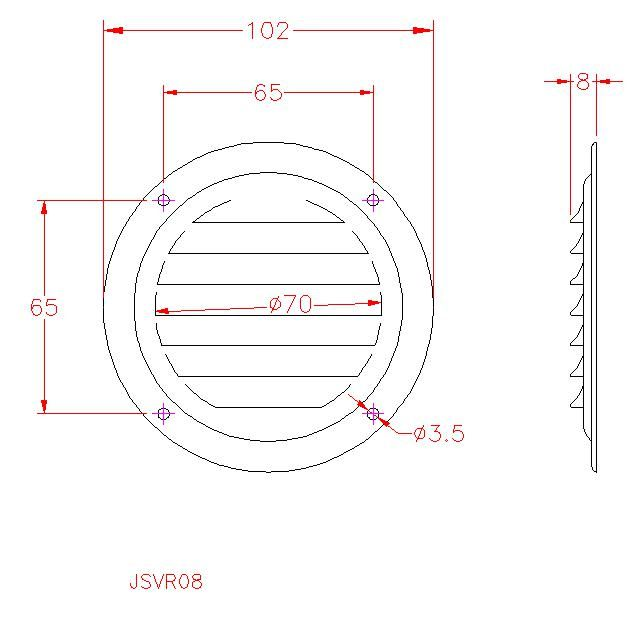 Round Louvre Ventilation Grille - Stainless Steel - Mirror - 316 - JSVR08