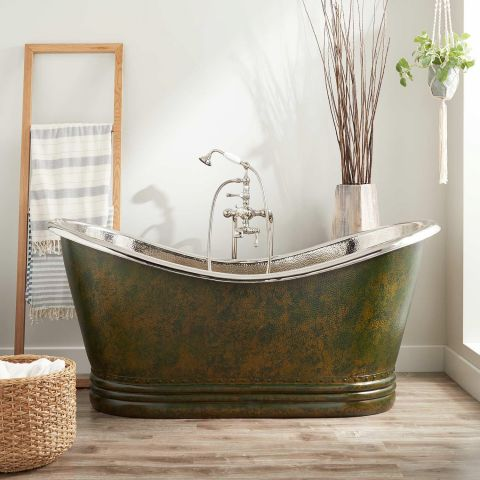 Paige Double Slipper Bath - Copper - Dark Green Antique Copper Outside and Nickel Inside - MHBA021