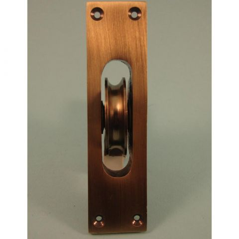 Traditional Heavy Cast Brass Pulley - Square Faceplate