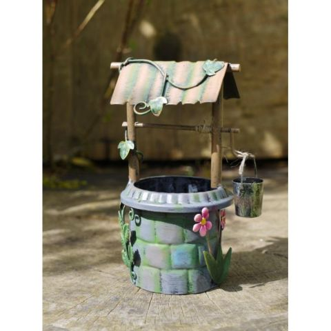 Fairy Wishing Well Garden Ornament - Metal - Hand Painted - MHDI003