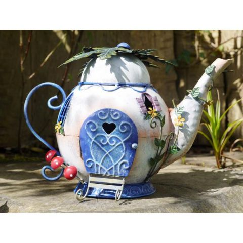 Fairy Teapot House Garden Ornament - Metal - Hand Painted - MHDI014