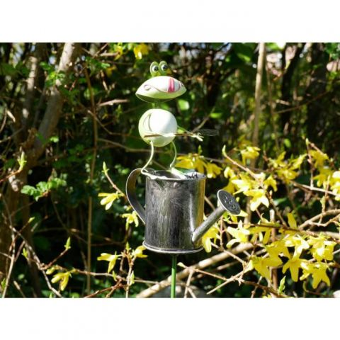 Frog On Watering Can Stake - Metal - MHDI735