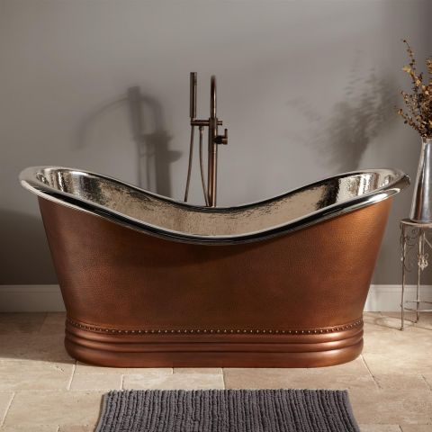 Paige Double Slipper Bath - Copper - Hammered Copper Outside and Nickel Inside - MHBA012