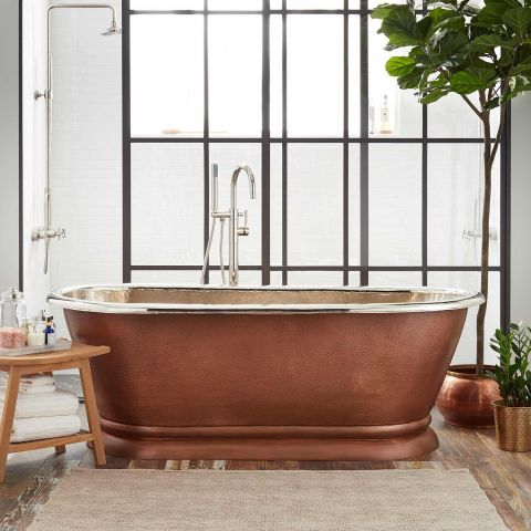 Kaela Pedestal Bath - Copper - Hammered Copper Outside and Nickel Inside - MHBA016