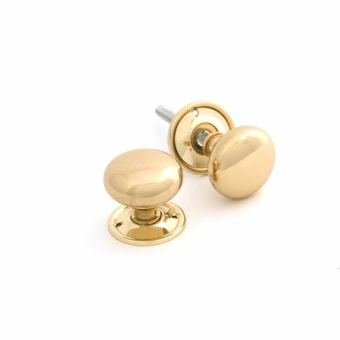 Mushroom Knob Set - Polished Brass - MHAN0607