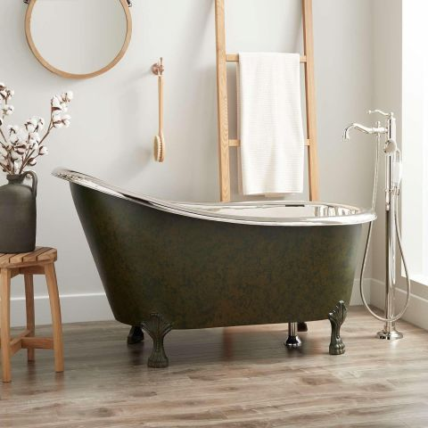 Norah Victorian Slipper Bath - Copper - Dark Green Antique Copper Outside and Nickel Inside - MHBA018