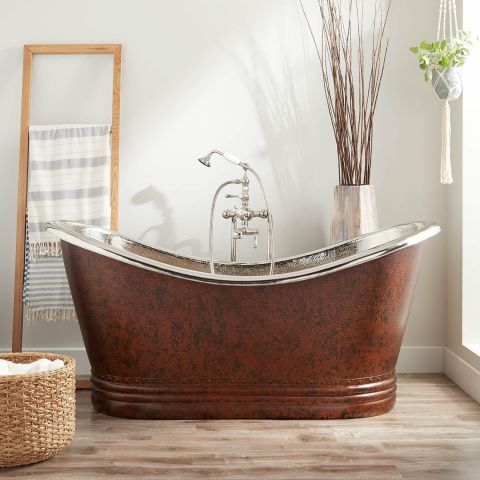 Paige Mottled Double Slipper Bath - Copper - Mottled Hammered Copper Outside and Nickel Inside - MHBA019