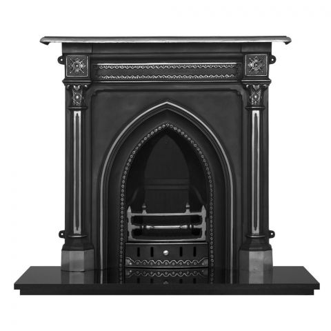 Gothic Cast Iron Combination Fireplace - Cast Iron - Highlight Polish - MHJI654