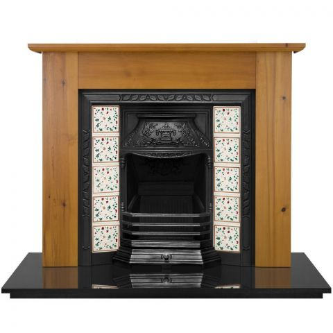 Laurel Cast Iron Fireplace Insert - Cast Iron - Black - MHJI567