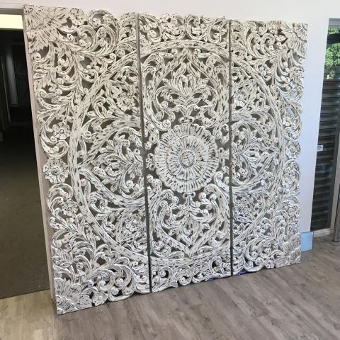 Mango Wood Hand Carved Decorative Wall Panel/Head Board - Mango Wood - White Mango Wood - MHIA-ASR-127
