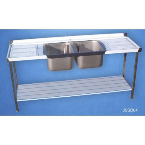 Double Sink and Drainer with 900mm high Stand