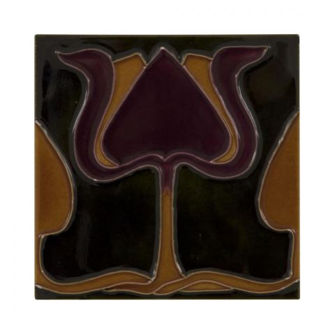 Burgundy/Orange Tulip on Green Tiles