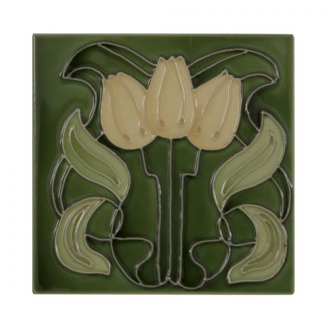 3 Yellow Flowers on Green Tiles