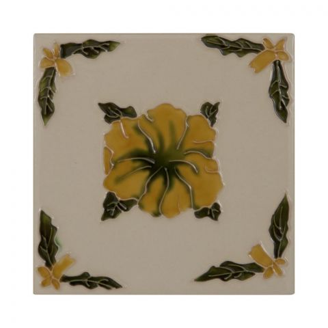 Orange Flower on Cream Tiles