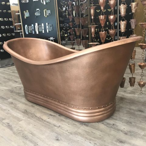 Paige Double Slipper Bath - Copper - Hammered Copper - MHBA007
