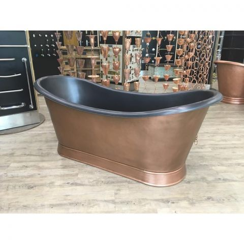 Double Slipper Bath with Plinth - Copper - Antique Copper Outside and Black EPI Inside - MHBA026
