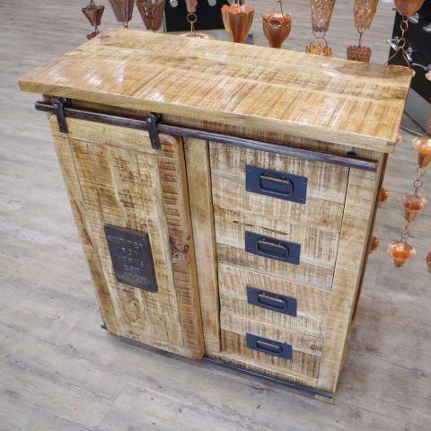Mango Wood and Iron Unit Cupboard Cabinet Storage - Mango Wood and Iron - Natural Mango Wood and Iron - MHIA-ASR-122