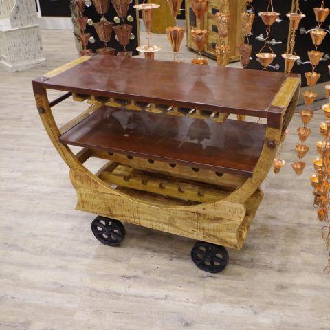 Mango Wood and Iron Tea/Drinks Trolley with Wheels