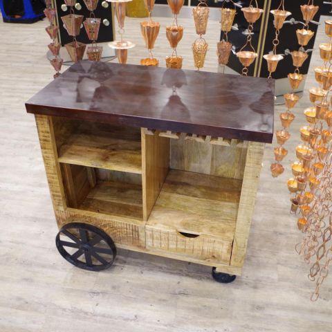 Mango Wood and Iron Tea/Drinks Trolley