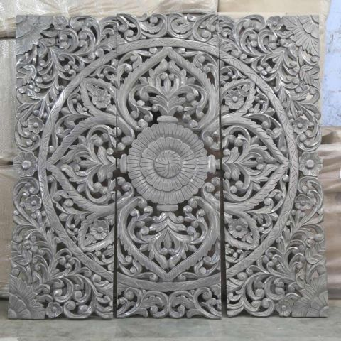 Hand Carved Wall Panel/Headboard in Grey and White Wash