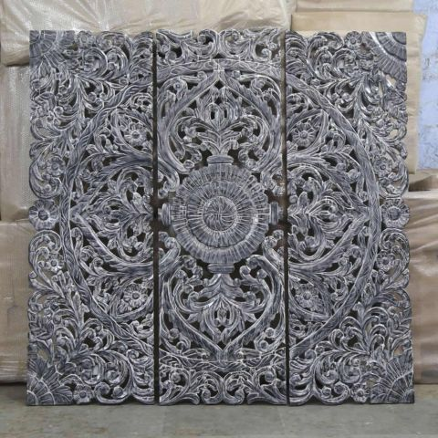 Hand Carved Wall Panel/Headboard in Black and White Wash