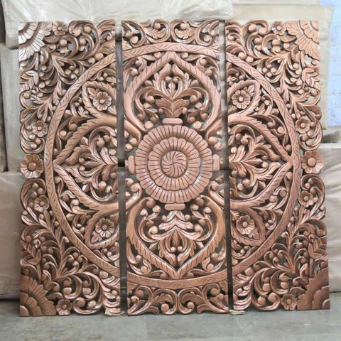 Mango Wood Hand Carved Wall Panel/Headboard in Copper Finish