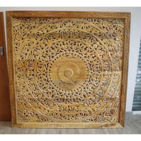 Mango Wood Hand Carved Decorative Wall Panel/Head Board - Mango Wood - Natural Mango Wood - MHIA-ASR-128-04