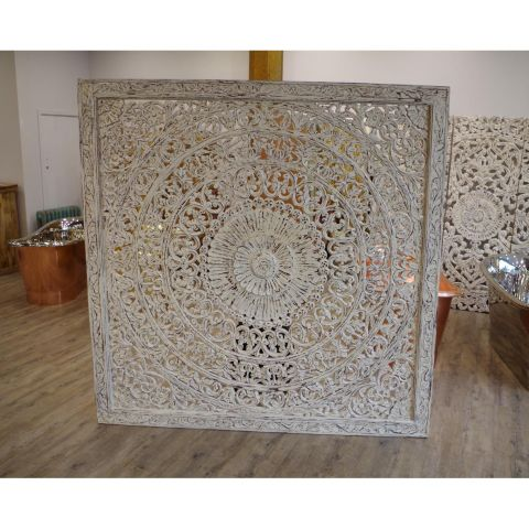 Mango Wood Hand Carved Decorative Wall Panel/Head Board - Mango Wood - White Mango Wood - MHIA-ASR-129-01