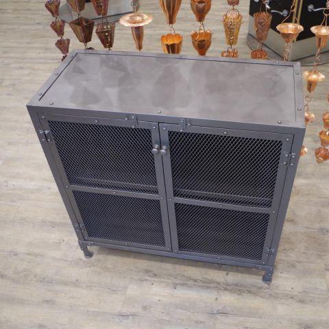 Iron Gun Metal Grey Sideboard Cupboard Unit