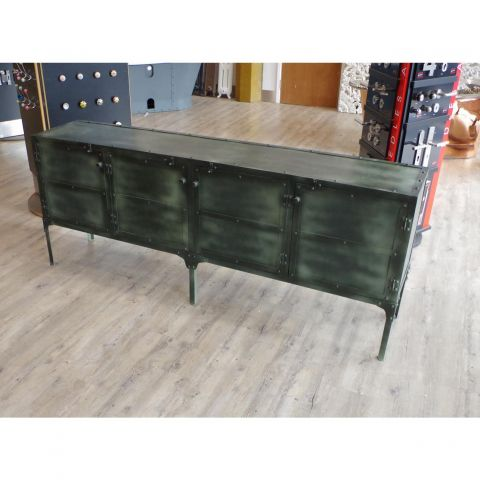 Iron Army Green Sideboard Cupboard Storage Unit
